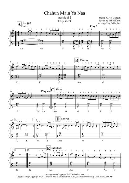 Chahun Main Ya Naa - Aashiqui 2 easy piano notes
