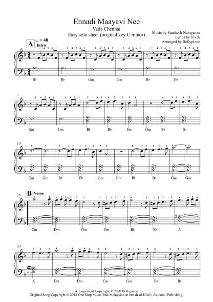 Eannadi Maayavi Nee - Vada Chennai easy piano notes