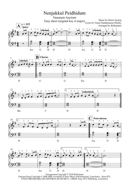 Nenjukkul Peidhidum - Vaaranam Aayiram easy piano notes