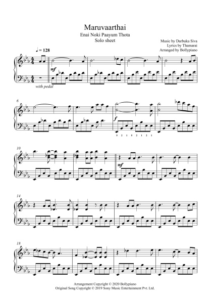 Maruvaarthai - Enai Noki Paayum Thota piano notes