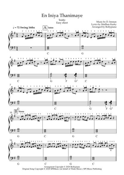 En Iniya Thanimaye - Teddy easy piano notes