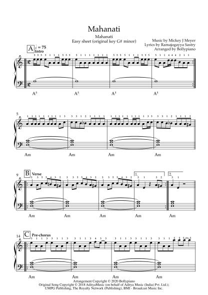 Mahanati - Mahanati easy piano notes
