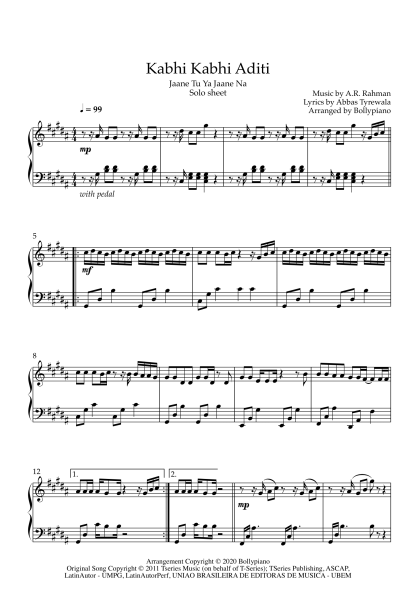 Kabhi Kabhi Aditi - Jaane Tu Ya Jaane Na piano notes