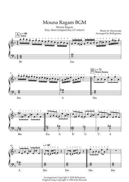Mouna Ragam BGM - Mouna Ragam easy piano notes