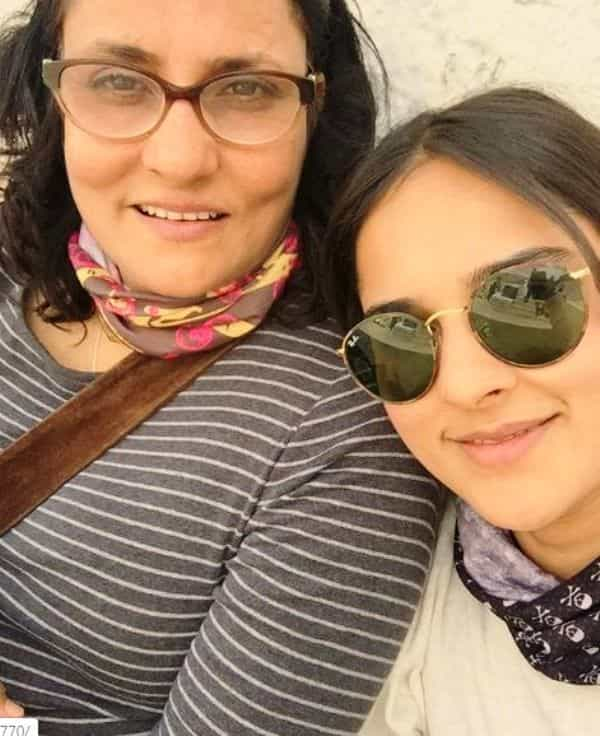 Angira Dhar with her mother