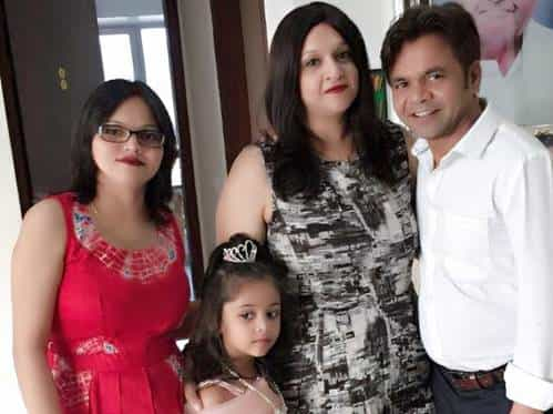 Rajpal Yadav with his wife and daughters