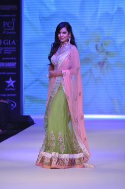 18 Esha Gupta wore Peach Green Lehenga & Emdroidered Dupatta from JASHN at IIJW 2012