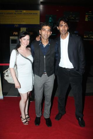Kristan, Giju John (Producer) & Sandeep John (Director) at the Red Carpet of 'Love, Wrinkle-Free' premiere at PVR, Phoenix..