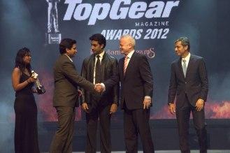 Girish Karkera (Editor, TopGear Magazine), Abhishek Bachchan, Mr. Philipp Von Sahr (President BMW Group India) Receving Car of the year for Mini Cooper S. with Mr. Tarun Rai.