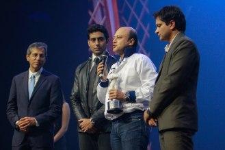 Mr. Tarun Rai (CEO, WorldWide Media), Abhishek Bachchan, Mr. Amit (Winner receiving the Bike of the year award KTM DUKE 200) & Girish Karkera (Editor, TopGear Magazine) at 'The TopGear India Magazine Awards 20