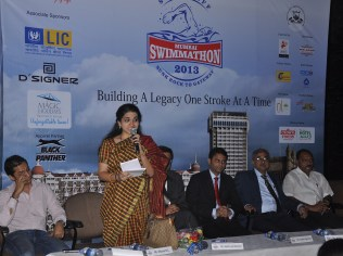 Shaina N.C, Executive World Chairperson, GIANTS International at the Press Conference of Square Off Mumbai Swimmathon 2013