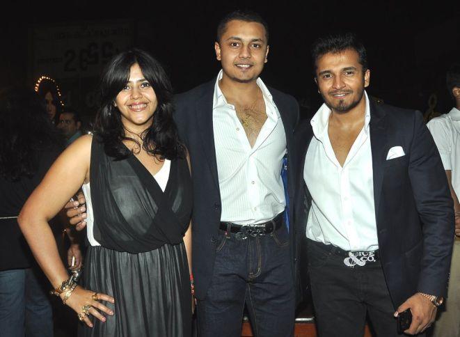 Ekta Kapoor with Vardhaman and Rushabh Choksi at the Bubbly Bash at Escobar