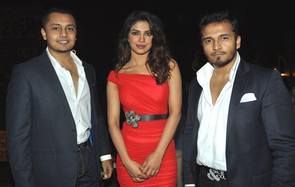 Vardhaman and Rushabh Choksi with Priyanka Chopra at the Bubbly Bash at Escobar