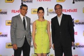 Mr. Tarun Rai, Tamanna & Mr. Rajat Mukarji at the '60th Idea Filmfare Awards 2012' (South) Press conference