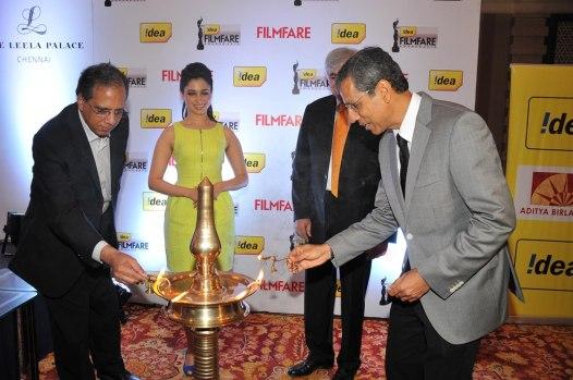 Tamanna & Mr. Tarun Rai annaugrating the '60th Idea Filmfare Awards 2012' (South).