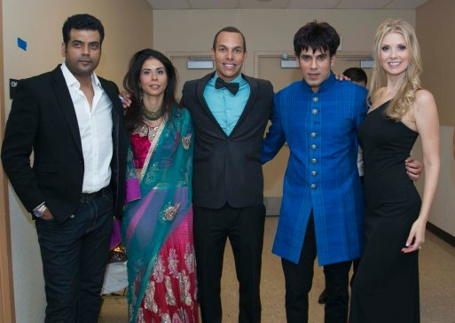 Designer Asif Shah with organisers at the AGF show in Las Vegas