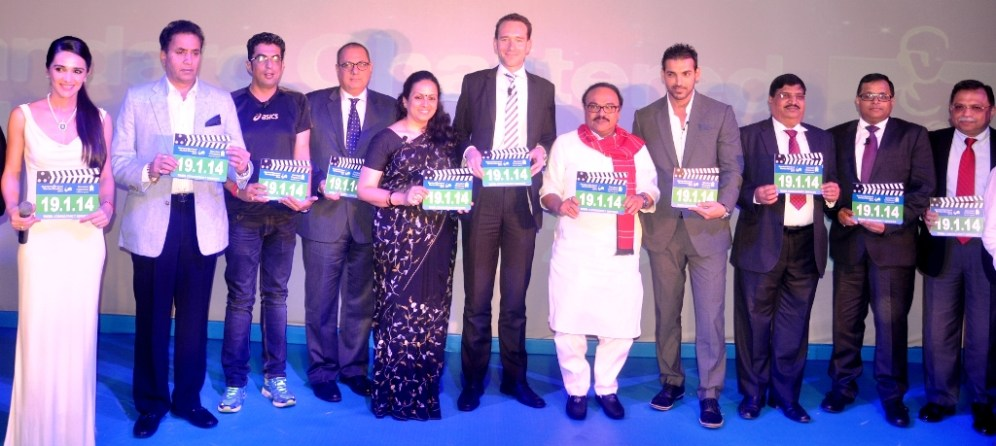 At the Countdown Press Conference of the Standard Chartered Mumbai Marathon 2014 in the presence of Government dignitaries event partners and Event