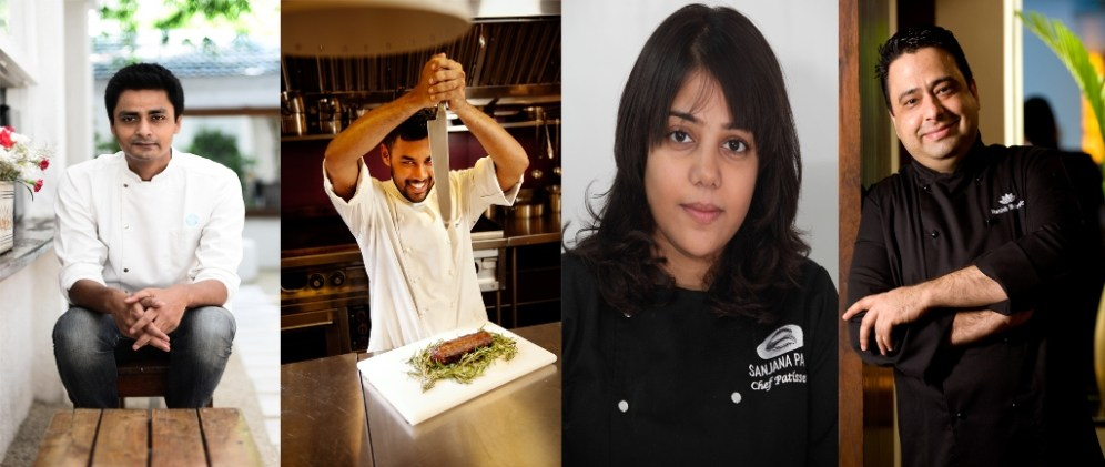 Chefs (L-R) Manu Chandra, Gresham Fernandes, Sanjana Patel, Manish Mehrotra