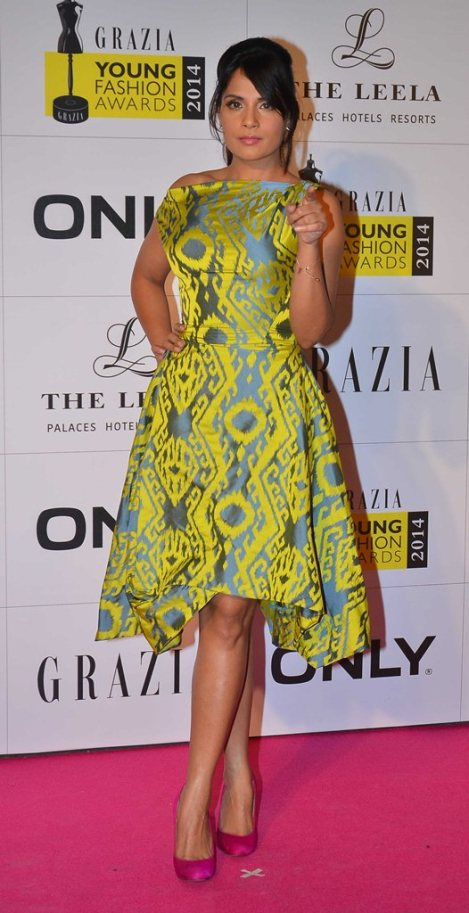 Richa Chadda at the Red Carpet of Grazia Young Fashion Awards 2014 at the Leela, Mumbai