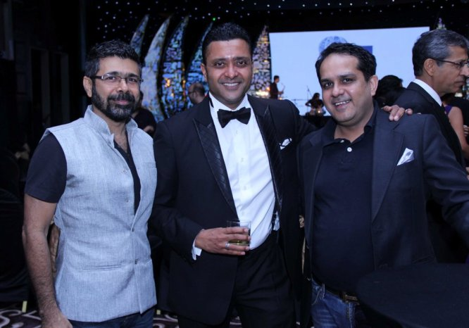 Arzan Khambatta, Ash Chandler with friend at 'The Lonely Planet Magazine India Travel Awards 2014'