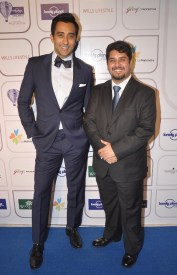Rahul Khanna & Vardhan Kondvikar (Editor) at the Blue carpet of 'The Lonely Planet Magazine India Travel Awards 2014'