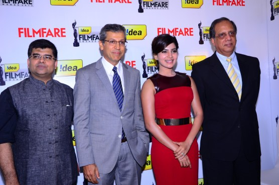 Jitesh Pillaai, Tarun Rai (CEO-Worldwide Media), Samantha Prabhu & Rajat Mukarji (CCAO-Idea Cellular) at the '61st Idea Filmfare Awards 2013' (SOUT