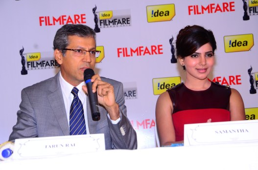 Tarun Rai (CEO-Worldwide Media) & Samantha Prabhu at the '61st Idea Filmfare Awards 2013' (SOUTH) Press Conferenece at Taj Krishna in Hyderabad