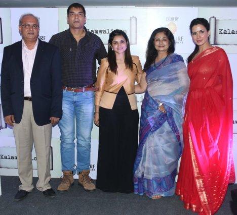 Mr. Chakor Gandhi, Manish Gupta, Sonia Gandhi, Mrs. Gandhi & Kirti Kulhari at the launch of kalamwali.com 'a world of words'.