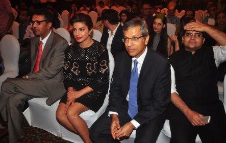 Mr. Varun Berry (MD, Britannia Industries), Priyanka Chopra & Mr. Tarun Rai (CEO, WWM) at the Press Conference of '60th Britannia Filmfare Awards 2014' at JW Marriot.1