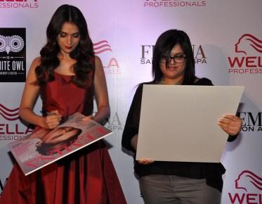 Aditi Rao Hydari & Tanya Chaitanya (Editor, Femina) launches Femina Salon & Spa Magazine cover at The White Owl Loung.2