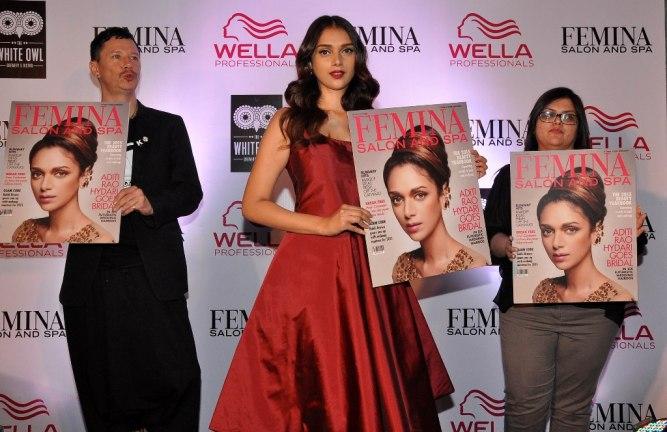 Stan Darren Newton , Aditi Rao Hydari & Tanya Chaitanya (Editor, Femina) launching at the Femina Salon & Spa magazine cover at the White Owl Lounge.3
