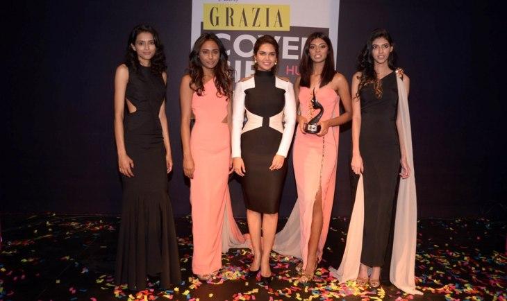 Esha Gupta with Grazia Cover Girl Hunt Winners at the Grazia Cover Girl Hunt Finale.