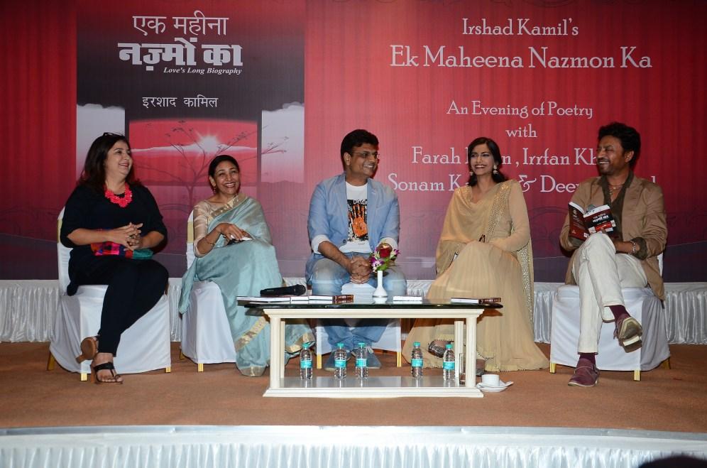 L-R-Farah Khan, Deepti Naval, Irshad Kamil, Sonam Kapoor, Irrfan Khan at the Mumbai launch of Irshad Kamil's book of poems- Ek Maheena Nazmon Ka,