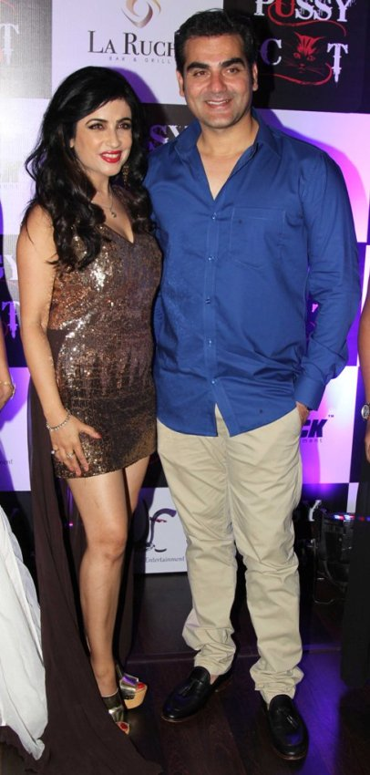 Shibani Kashyap (Singer) with Chief guest Arbaaz Khan at the launch party of latest Music Video 'PUSSY CAT' at La Ruche, Bandra.