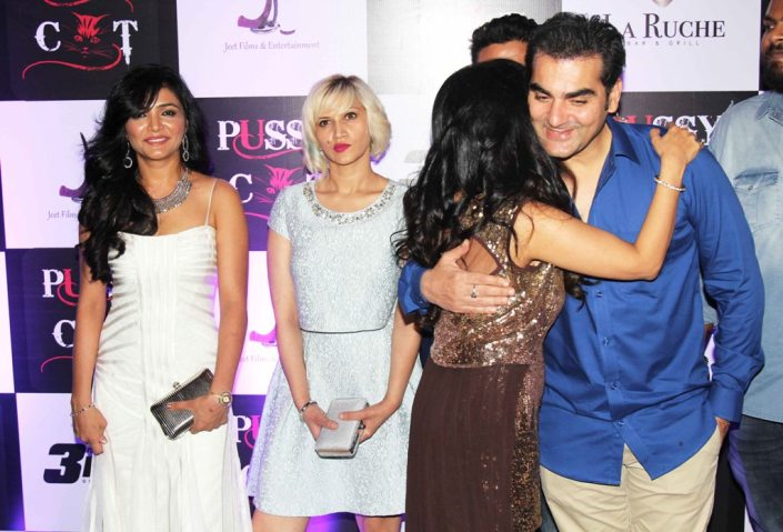 Shreeya (featuring in video), Producer Jai Singh's wife & Shibani Kashyap (Singer) with Chief guest Arbaaz Khan at the launch party of their latest Music Video 'PUSSY CAT' at La Ruche, Bandra