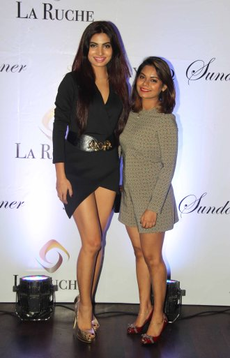 Avani Modi of GÇÿCalendar GirlsGÇÖ & Fashion Designer Akanksha Singh at the Six Months Completion Celebration of La Ruche, Bandra.