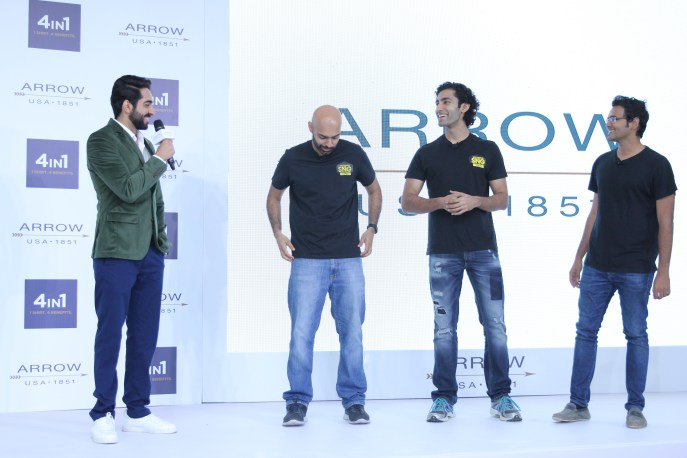 Ayushmann Khurrana with the SnG Comedy Group at the Arrow 4in1 Shirt Launch-5