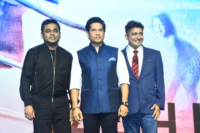 AR Rehman, Sachin Tendulkar and Singer Sukhvinder Singh at the music launch of the movie