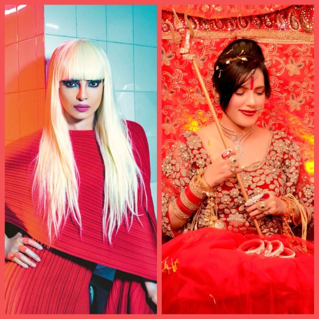 Priyanka Chopra and Radhe Maa. Collage 1. (Priyanka's image courtesy - Google)