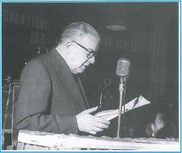 1964. Gherardo Forni durante le celebrazioni del 25° anniversario Avis Bologna
