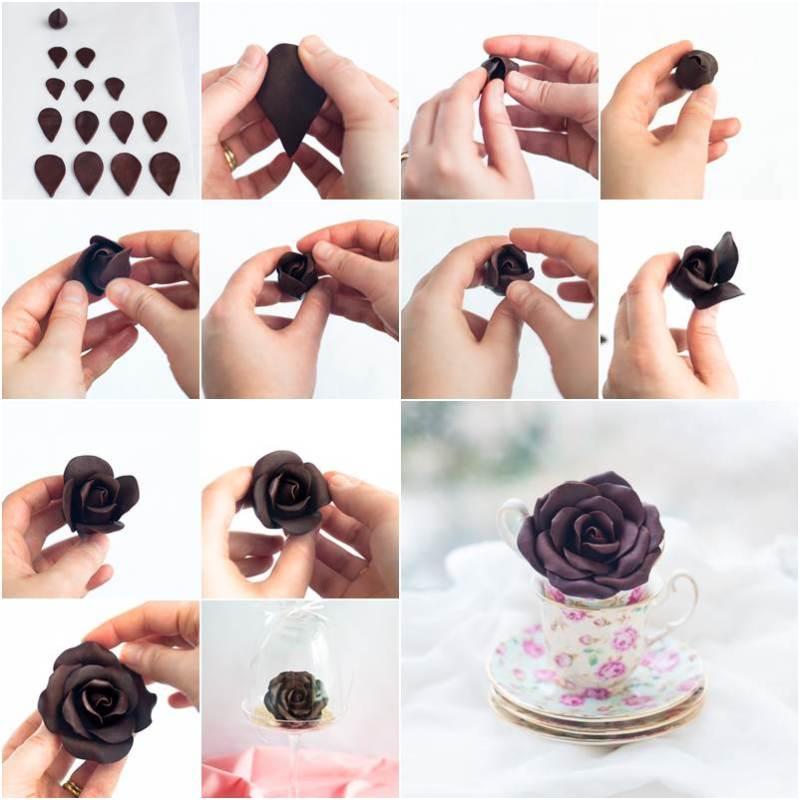 How to DIY Beautiful Modeling Chocolate Rose - Como fazer chocolate de modelar