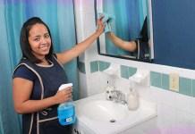 maid-bathroom-cleaning-bacteria lady for cleaning and help señora para ayudar en la limpieza general