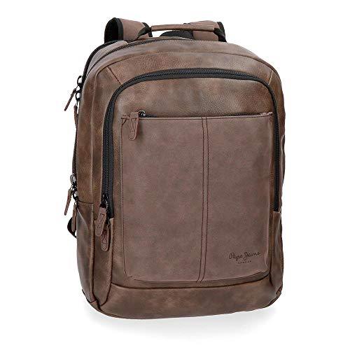 mochila para porttil pepe jeans cranford marrn doble compartimento