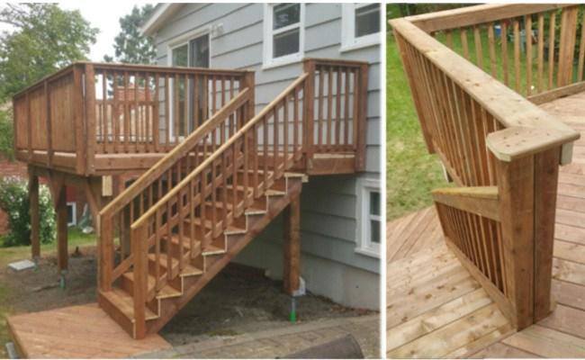 Updated Pressure Treated Deck Halifax   Pressure Treated Stair Handrail   Basic Deck   Deck Rail   Cedar   Guard   Concrete Step