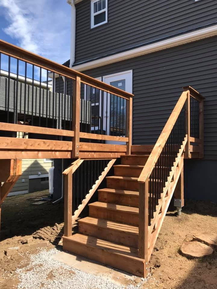 Halifax Brown Pressure Treated Deck Archadeck Outdoor Living   Pressure Treated Wood Stairs   L Shaped   Exterior   Timber   45 Degree Stringer   8 Foot