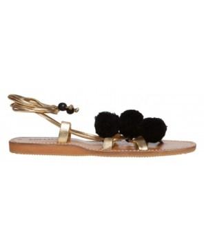 Sandales dorées à pompons Lollipops