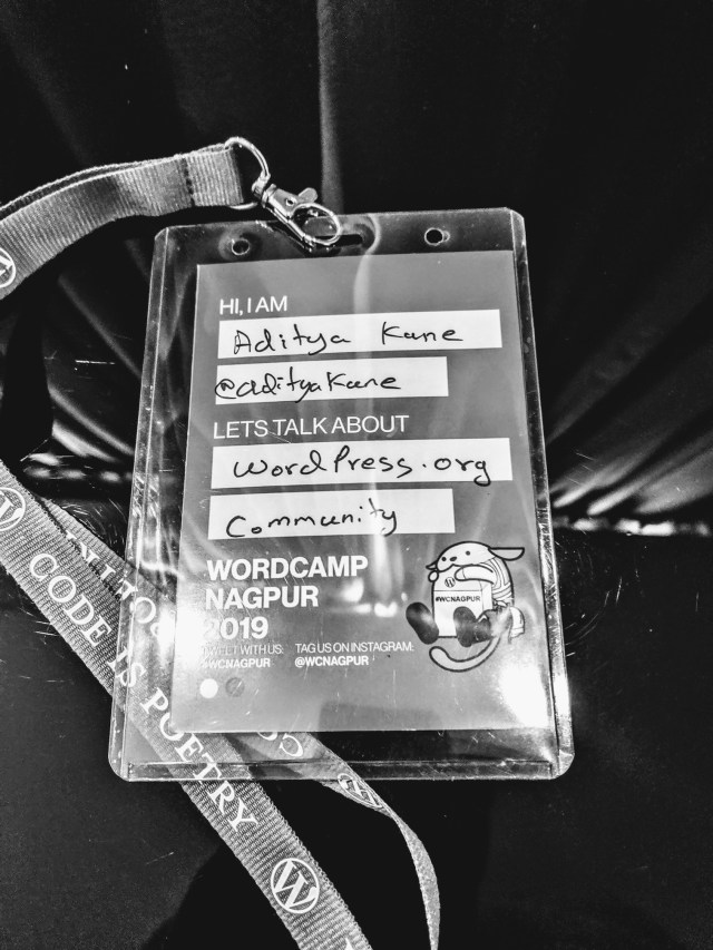 Image of lanyard and ID card of WordPress Conference - WordCamp Nagpur 2019.