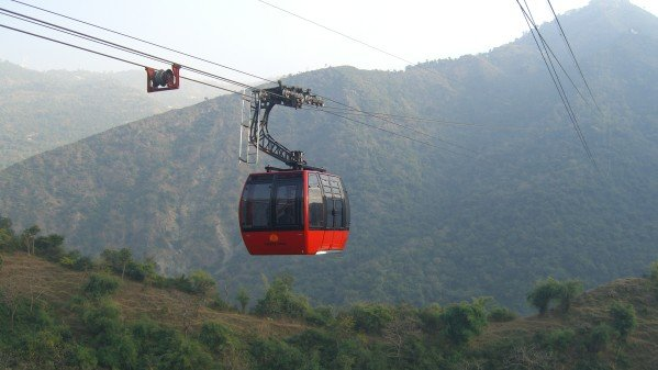 Red Rope-way at Timber Trail in Chandigarh