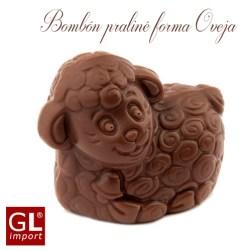 bombon praline forma ovejita en chocolate belga