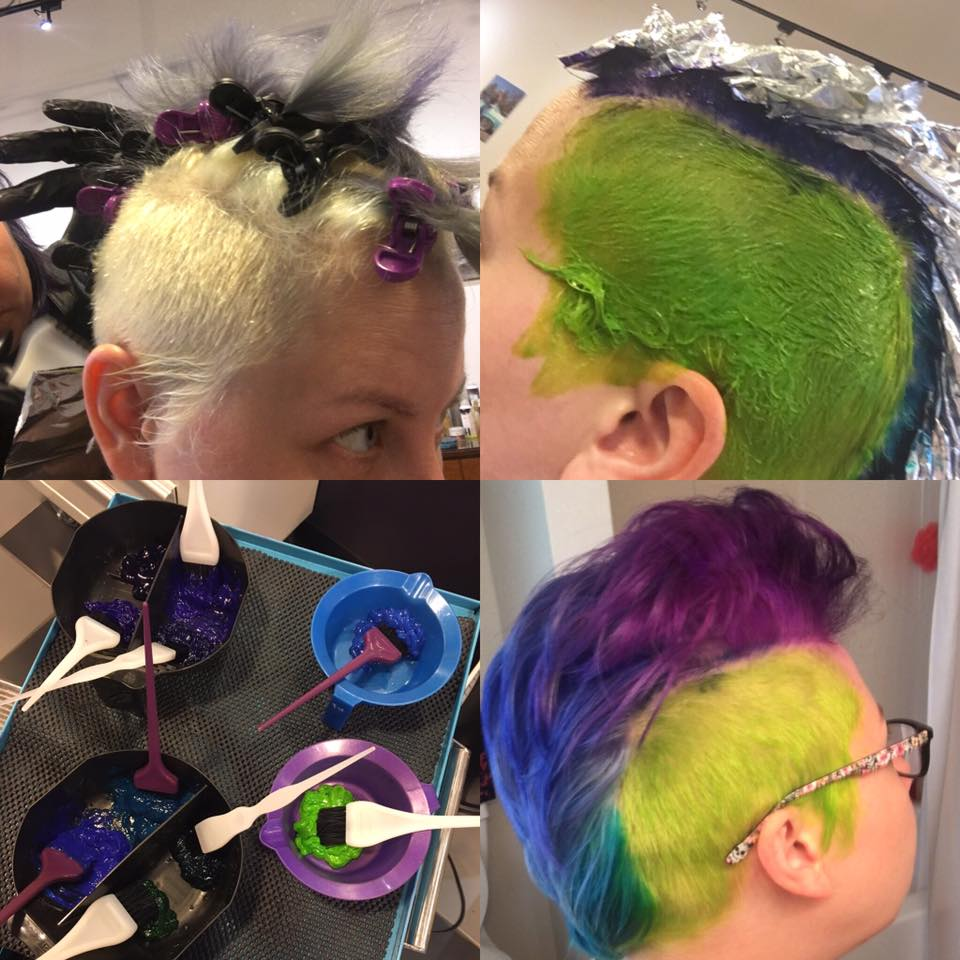 Purple Mohawk at Bombshell Hair Shop